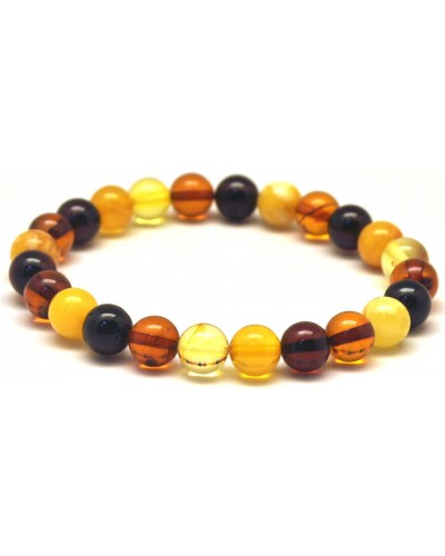 Multicolor round beads amber bracelet  8 mm.